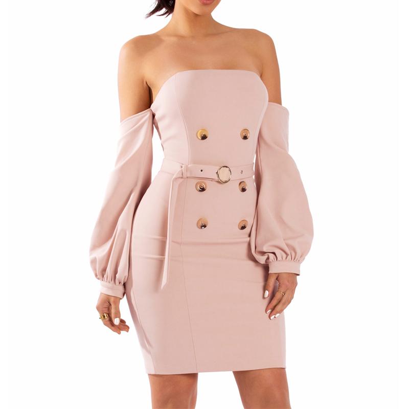 7aaf1330358cf Çin Toptan Giyim Bahar Kapalı Fener Omuz Zarif Muhteşem Bayan Elbise