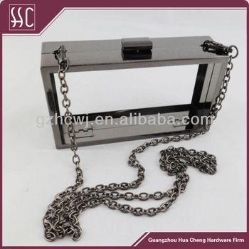 Gun Metal Purse Frame Box Clutch Hard Shell Bag With