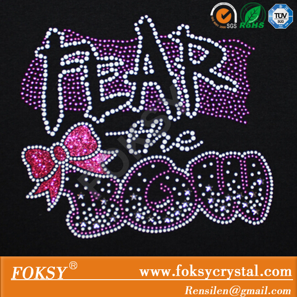 Hotfix Nailhead Fear the Bow cheer Iron on glitter transfer design for tshirt