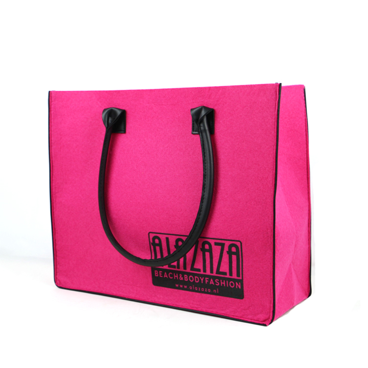Cheap shoulder hand wholesale felt tote bag