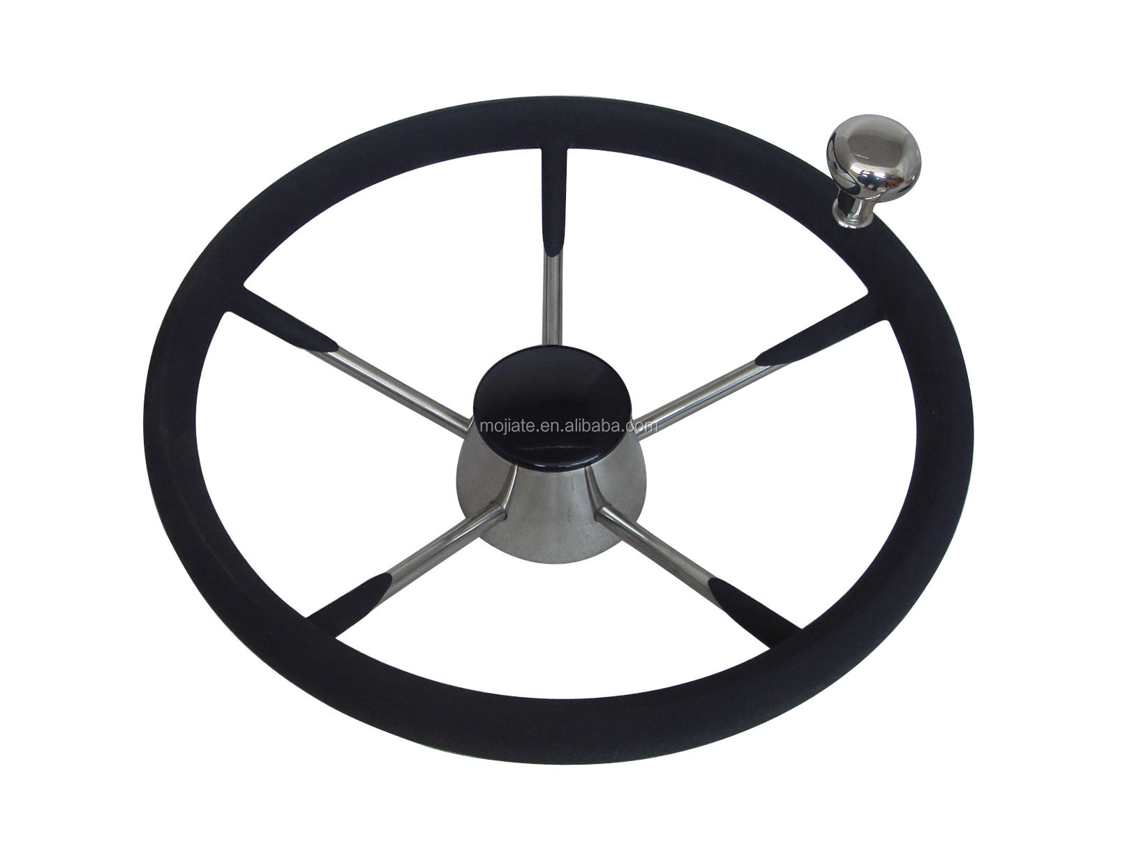 5 Spokes 11 Quot Steering Wheels Stainless Steel With Black