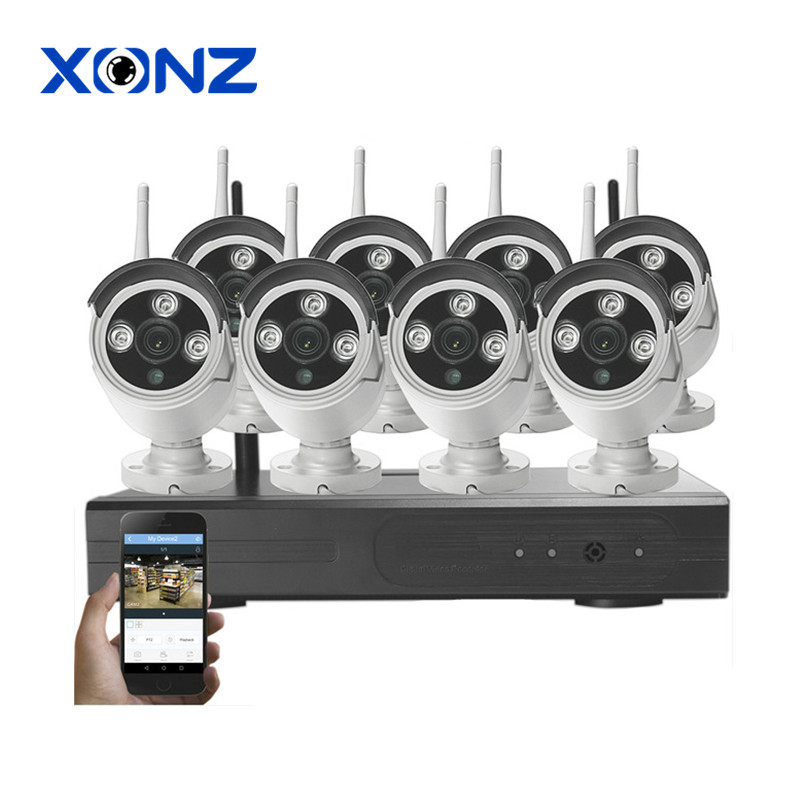 Shenzhen china suppliers CCTV security camera system wireless 8ch outdoor bullet wifi nvr kit