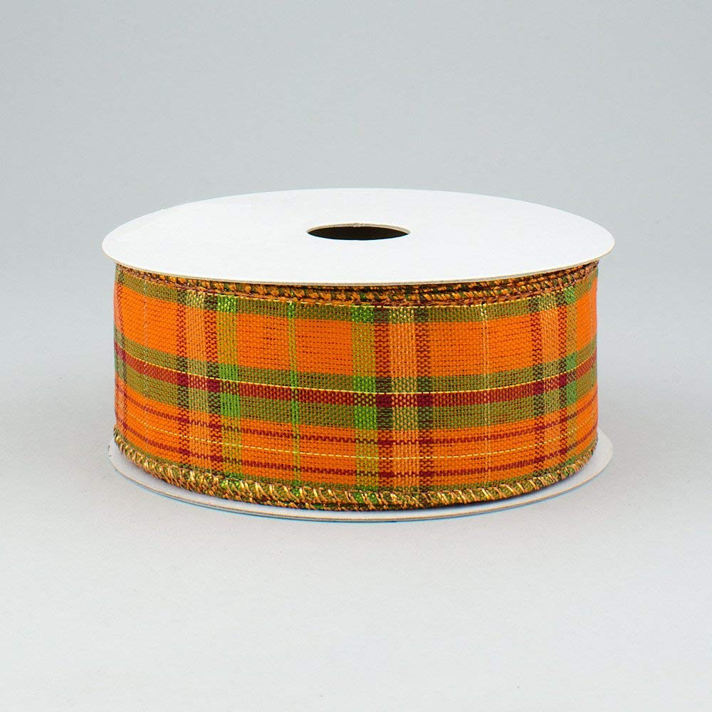 """1.5"""" Wide Expressions Orange Metallic Plaid Wired Ribbon Moss, Burgundy, Lime, Copper (10 Yards) Fall & Halloween"""