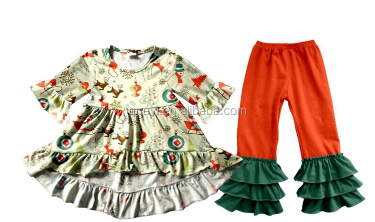 wholesale latest children's boutique 3/4 long sleeve front short back long dress match baby leggings pants newborn dress kid