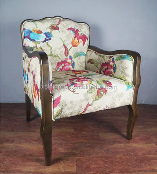 Fauteuil Met Bloemenstof.Vintage Retro Franse Provinciale Bekleding Fauteuil Met Kleurrijke