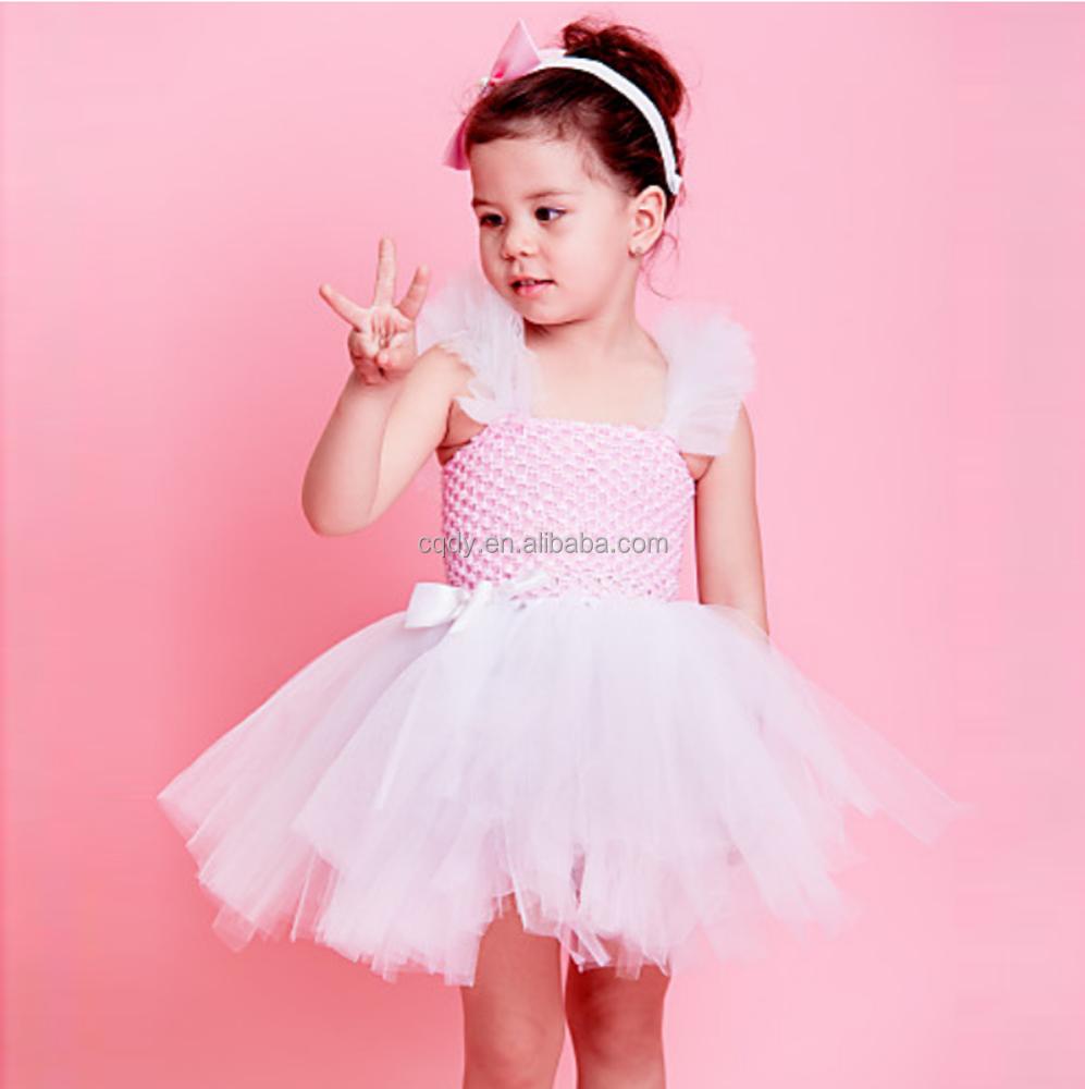 Pink Girl puffy tulle Tutu vestido para niñas vestido de verano para ...