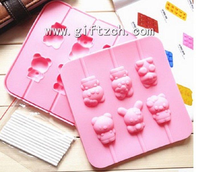 Mifei rubbit cartoon silicone lollipop mould