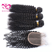 pure virgin 100% indian human hair machine weft hair extensions curly hair with closure