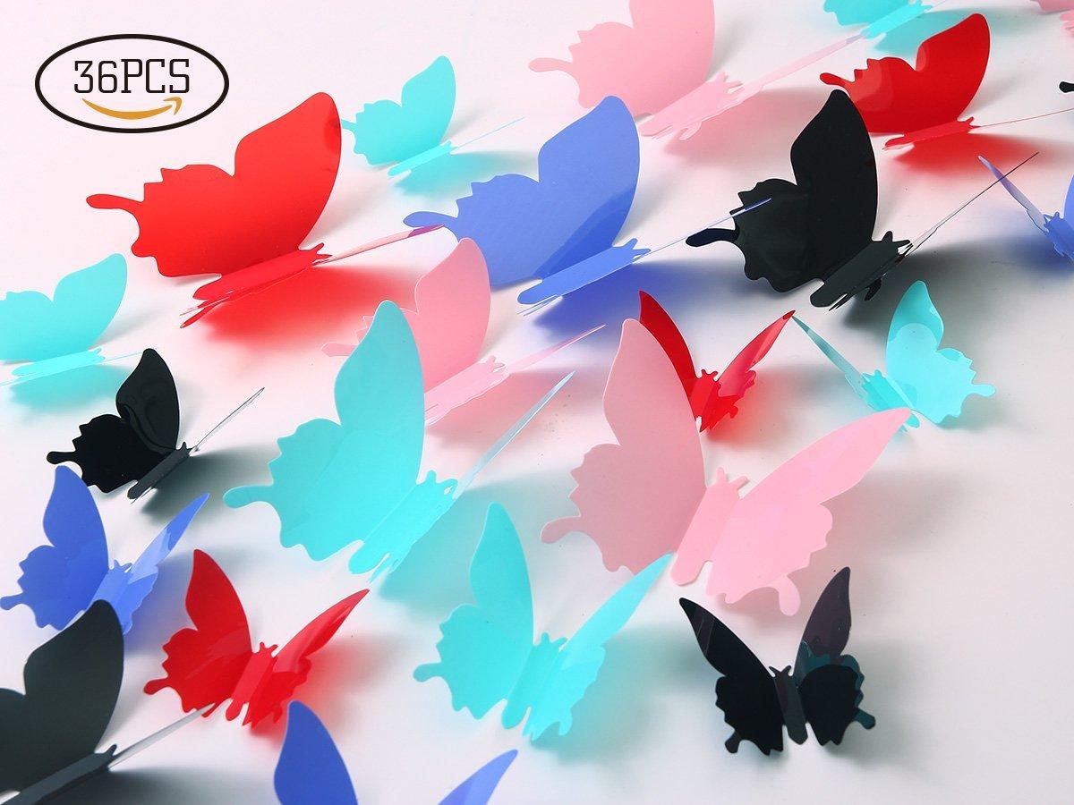 Get Quotations · Kakuu Butterfly Wall Decals   3D Butterflies Wall Stickers  Removable Mural Decor Wall Stickers Decals Wall