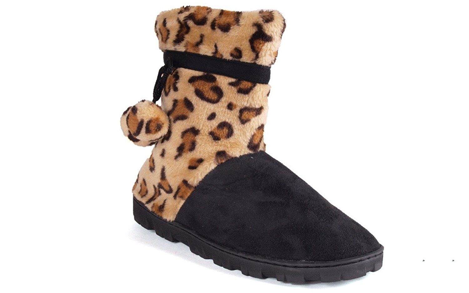 0d29a761d Get Quotations · Happy Feet - Leopard and Black Micro Boot - Snooki Slippers