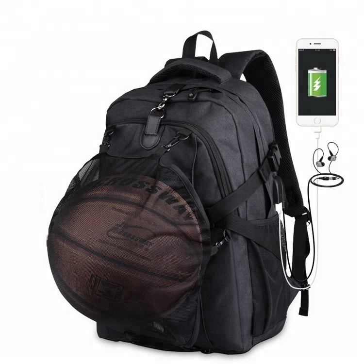 Hot Large Capacity USB Charging Laptop Bag Travel Sports Basketball Backpack