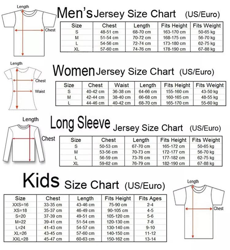 mens football jersey size chart