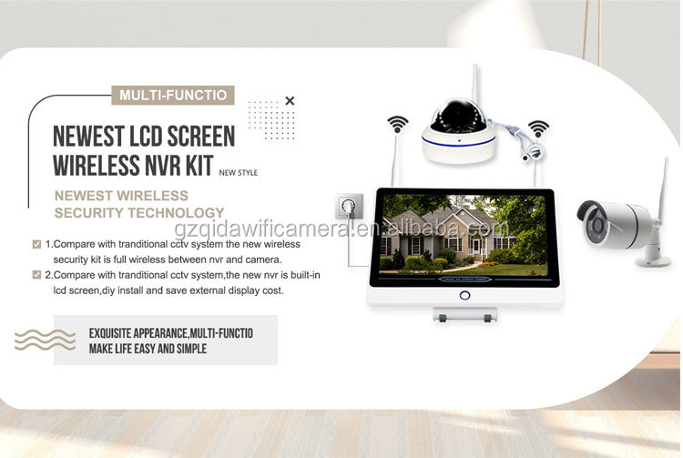 "HD 1080 P/2MP CCTV sicherheit System outdoor ip kamera kit drahtlose 4 kanal 8CH DIY wifi NVR mit 11,6 ""LCD Screen-monitor"