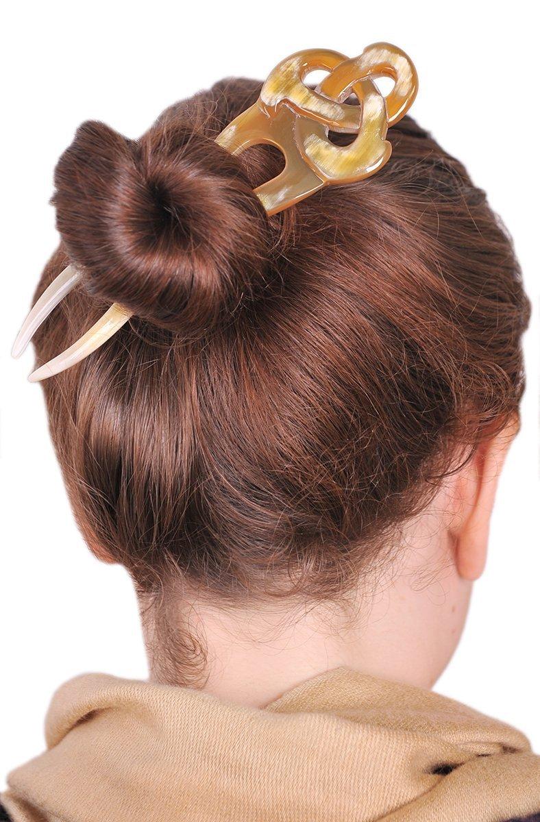 """Marycrafts Translucent Amber Honey Celtic Knot Buffalo Horn Hair Fork, Hairfork, Hair Pin, Hairpin, Hair Accessory, Hair Toy Handmade 6.5"""""""