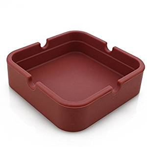 Hong Cheng Silicone Square Ashtray, Pack of 4,Colorfull Premium Silicone Rubber High Temperature Heat Resistant Square Design,Increase, Thickening, Hardness Higher of Ashtray (Brown)