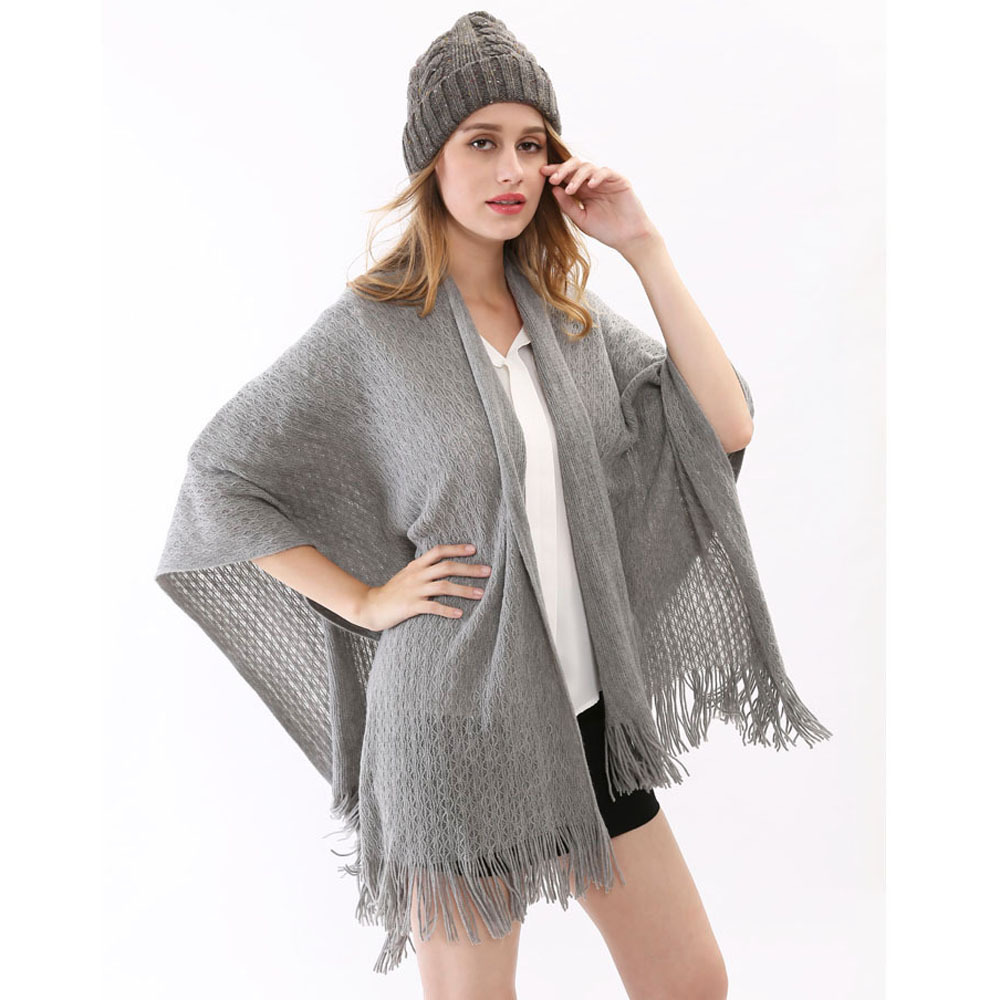 2015 Fashion Fall Winter Ladies Blanket Pashmina With Tassels Soft Warm  Desigual Women Gray Plus Size Womens Poncho 160*140cm
