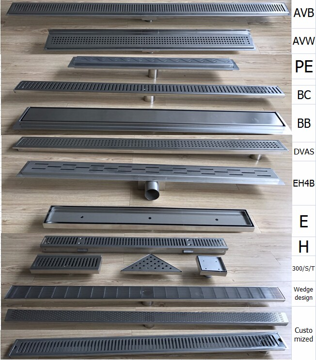 Sloped channel base bathroom floor drain stainless steel for Gutter drainage systems design
