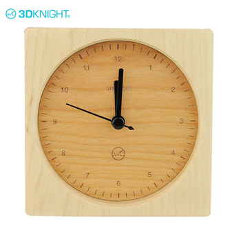 Oem welcome promotional wooden 24 hour clock for desk