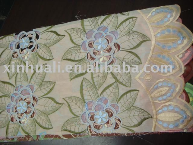 White Satin Embroidered Fabric with Light Green Embroidery for USA/satin fabric with embroidery