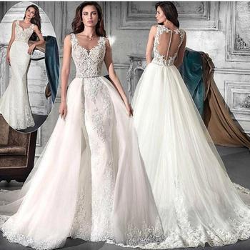 59325b905d Falda desmontable apliques de encaje blanco boda vestidos 2018 elegante con  cuentas barato vestidos de novia