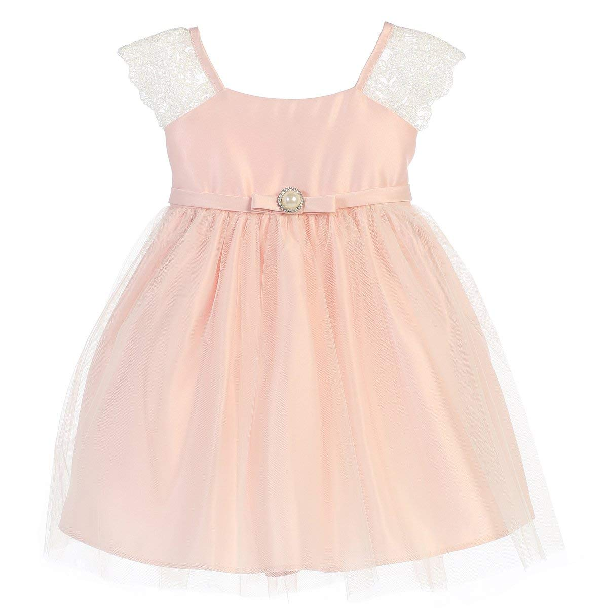 4221bb9553a03a Get Quotations · Sweet Kids Baby Girls Petal Pink Lace Sleeve Pearl Broach  Easter Dress 9M