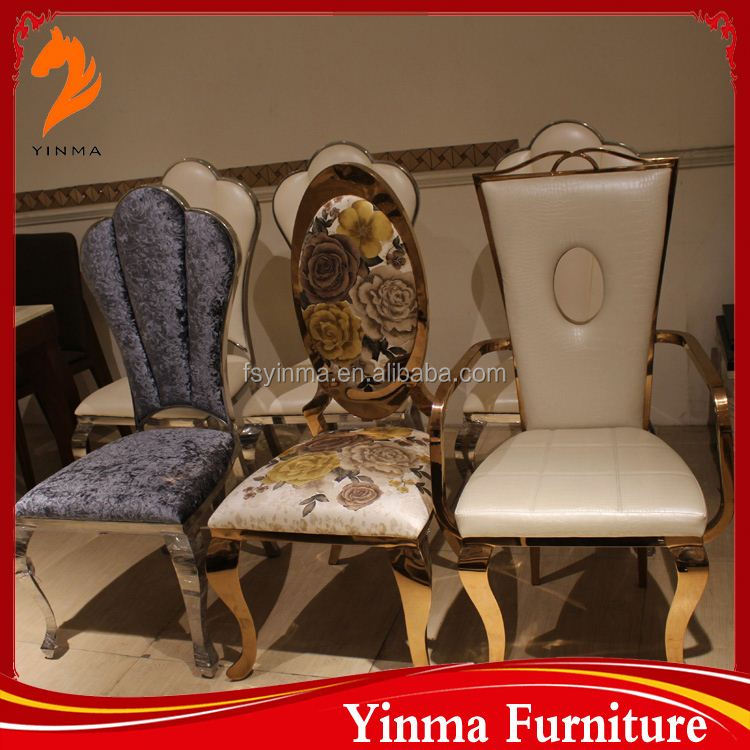 Hotel furniture gold engraving chair for events
