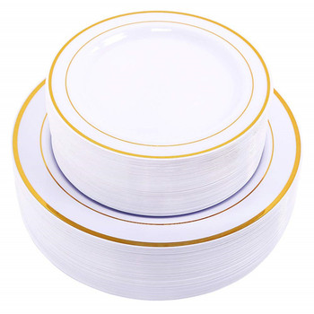 Heavyweight White with Gold Rim Plastic Plates Charge Plate