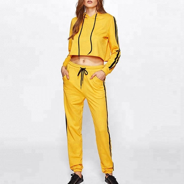 size 7 no sale tax discount Wholesale Fashion New Style Side Stripes Cropped Hoodie Tracksuits Set  Black Yellow Custom Logo Tracksuit - Buy Custom Logo Tracksuit,Black And  Yellow ...
