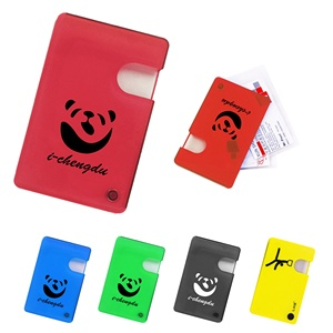 Promotion low price classical personal business gift portable transparent multi-color push slide up ID credit card holder wallet