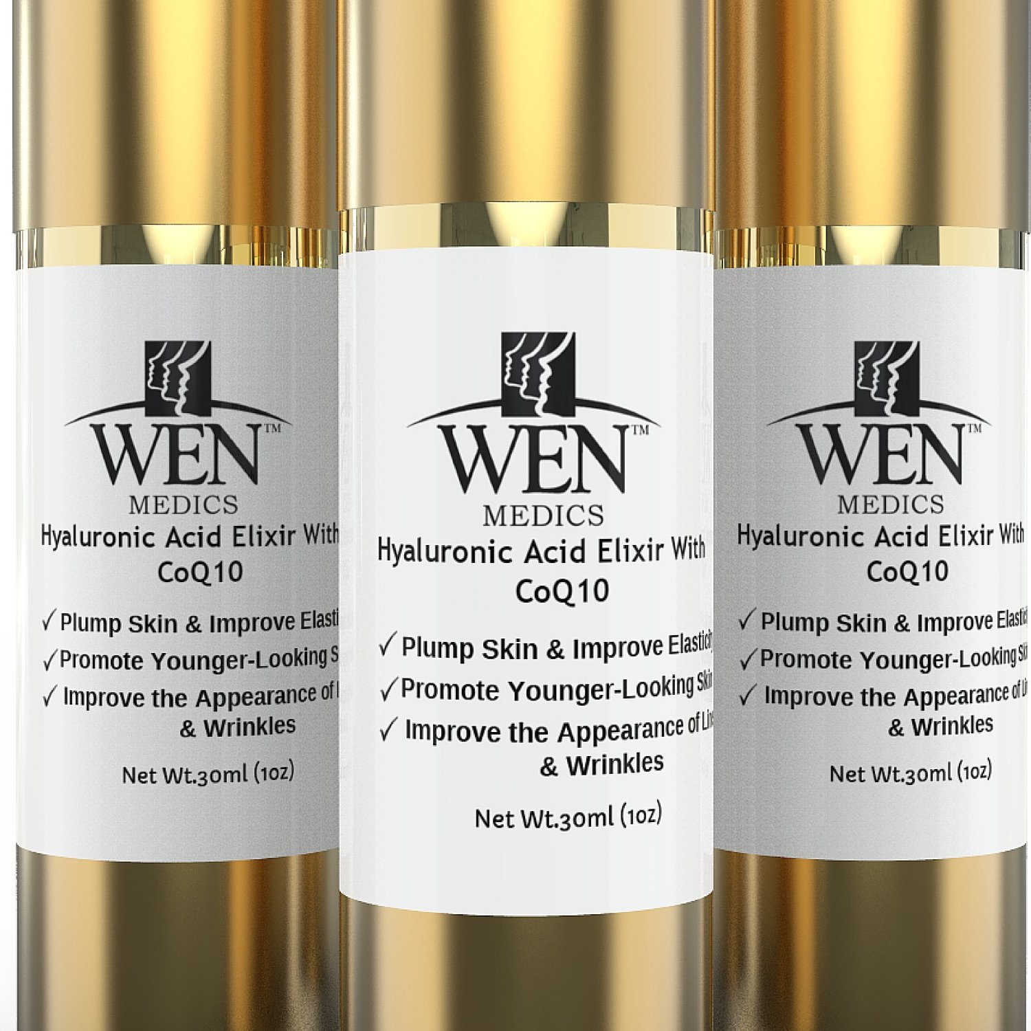 Hyaluronic Acid Serum for Face By WENmedics| Anti-Aging Wrinkle Serum Moisturizer with Vit C,E CoQ10 & Peptides|For Radiant Youthful Skin|Fragrance Free - No Flaky Patches, Dryness or Irritation|1oz