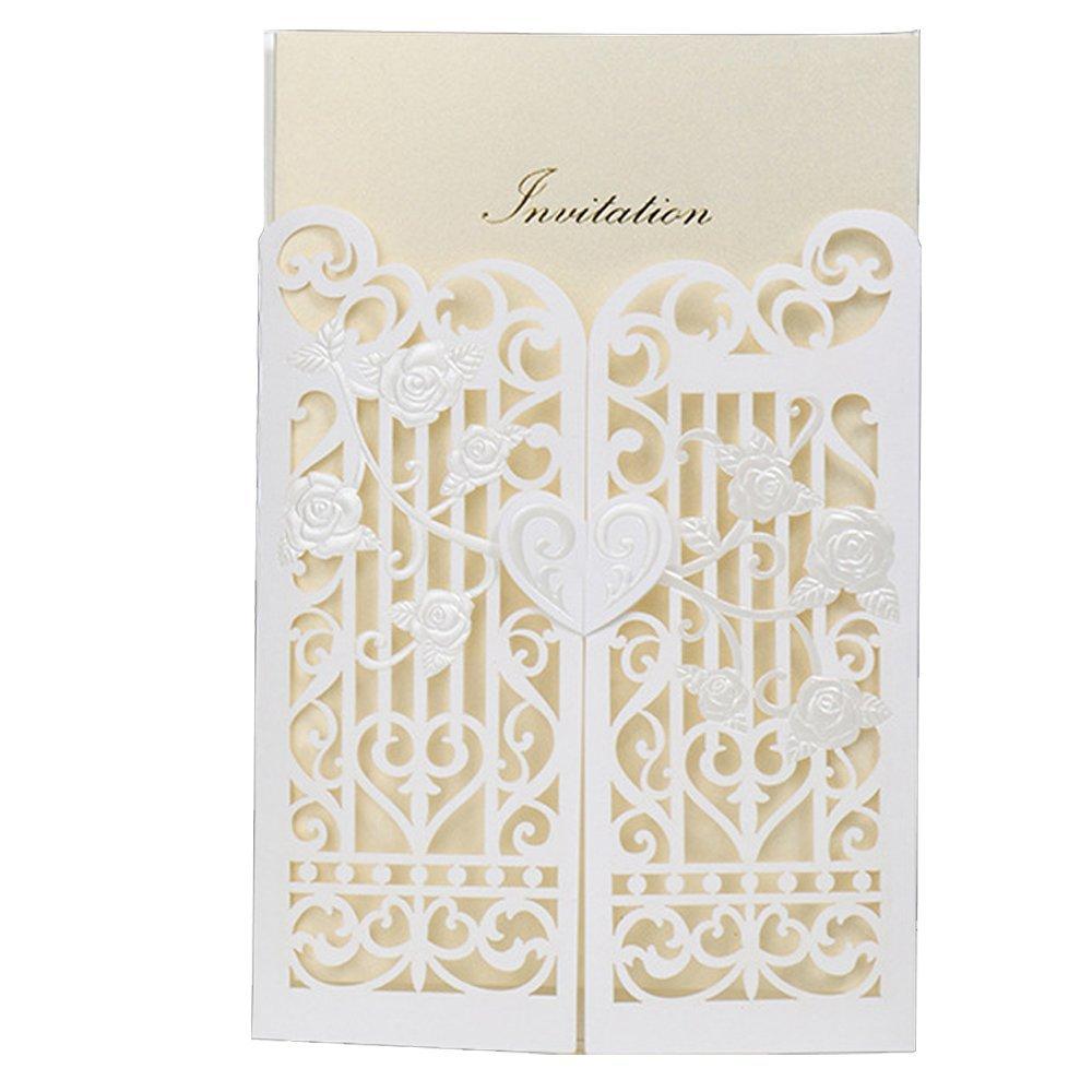 Everyshine Laser Cut Classic White in Love Guard Door Romantic Wedding Invitations (50)