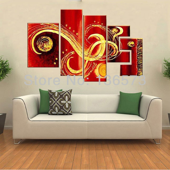 wall pictures red wall art hand painted modern oil painting on canvas 5 piece canvas art sets. Black Bedroom Furniture Sets. Home Design Ideas
