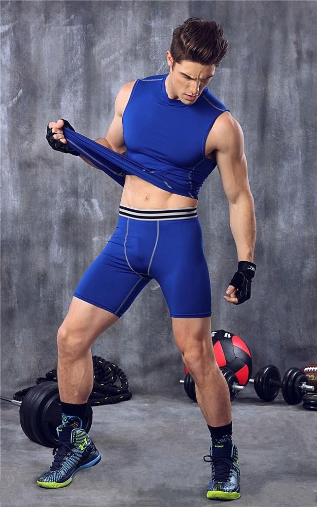 Fitness pants men 's basketball running training pants stretch compression shorts sports trousers pants MA29