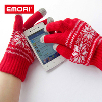 Full Color Jacquard Warm Touch Screen Gloves / Winter Cycling Gloves