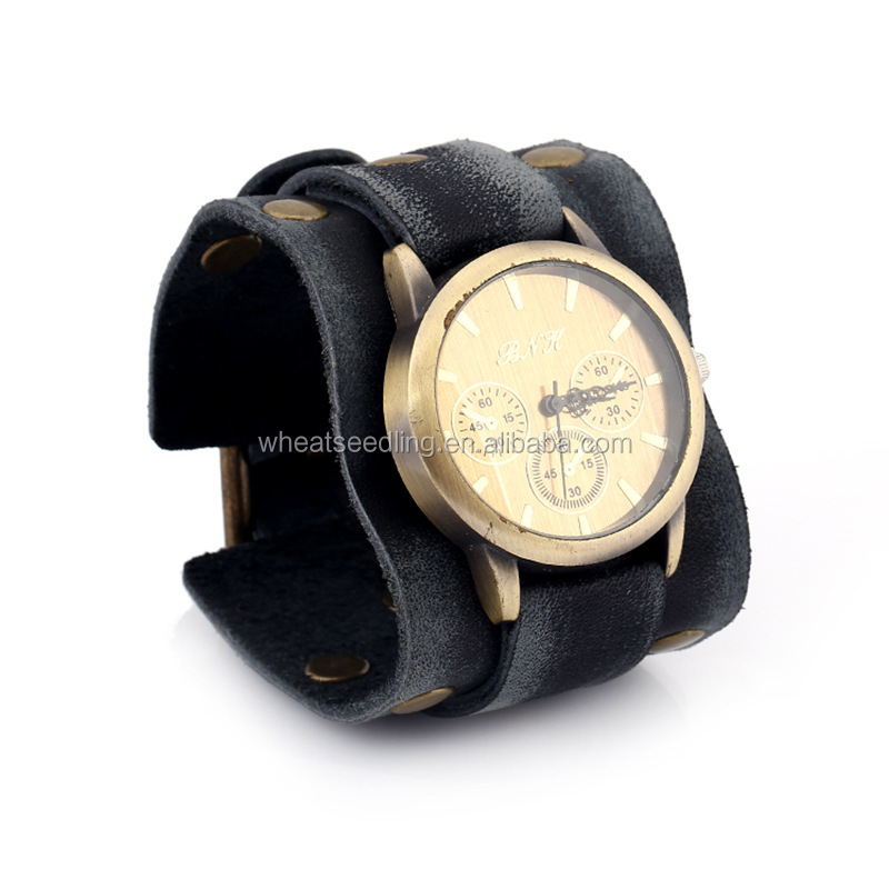 Europe and the United States, Europe and the United States punk Retro Leather Bracelet Watch men's watches personalized Leather