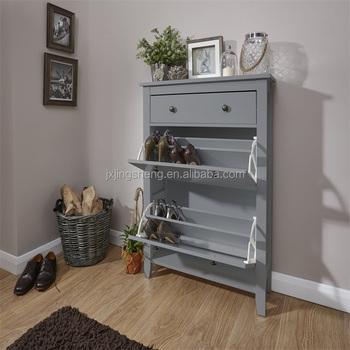 Merveilleux Cheap Grey Wooden Shoe Cabinet Rack 3 Drawers Shoe Shelf Box Living Room  Furniture