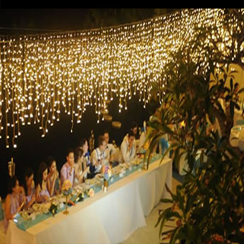 Outside Decorative LED Icicle Curtain Fairy Lights for Rental Party Supplies