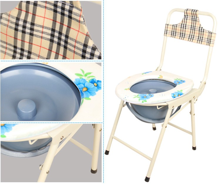 Adjustable folding portable patient toilet chair with bedpan