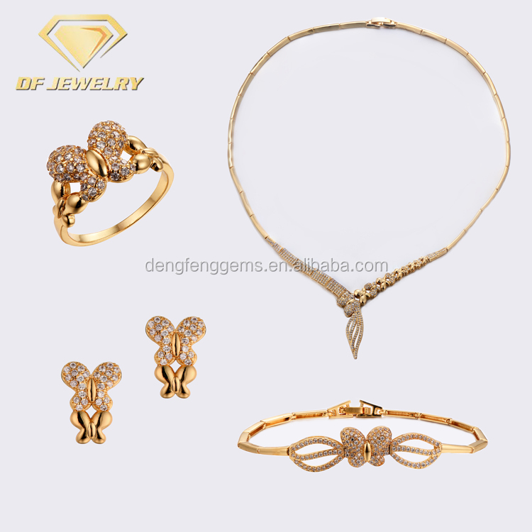 2018 Latest Butterfly Luxury Dubai Gold Plated Jewelry Sets