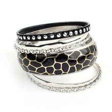 Sexy women hot round rhinestone bangle crystal bead for european black color leather beaded wrap bracelet PB1925