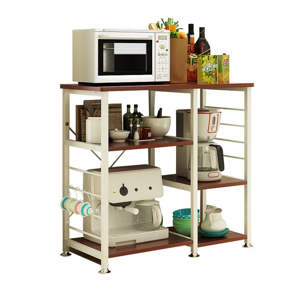 YChoice Rack Decor Creative Kitchen Rack Microwave Oven Shelf Multi-Function Kitchen Storage Rack Floor Stand (Color : Beige)