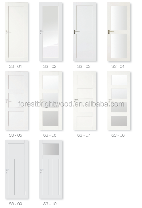 White Color Shaker Type Decorative Interior Doors With Art Glass