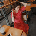 New arrival 3/4 sleeve skater style summer dress 2015 korean clothes of fashion