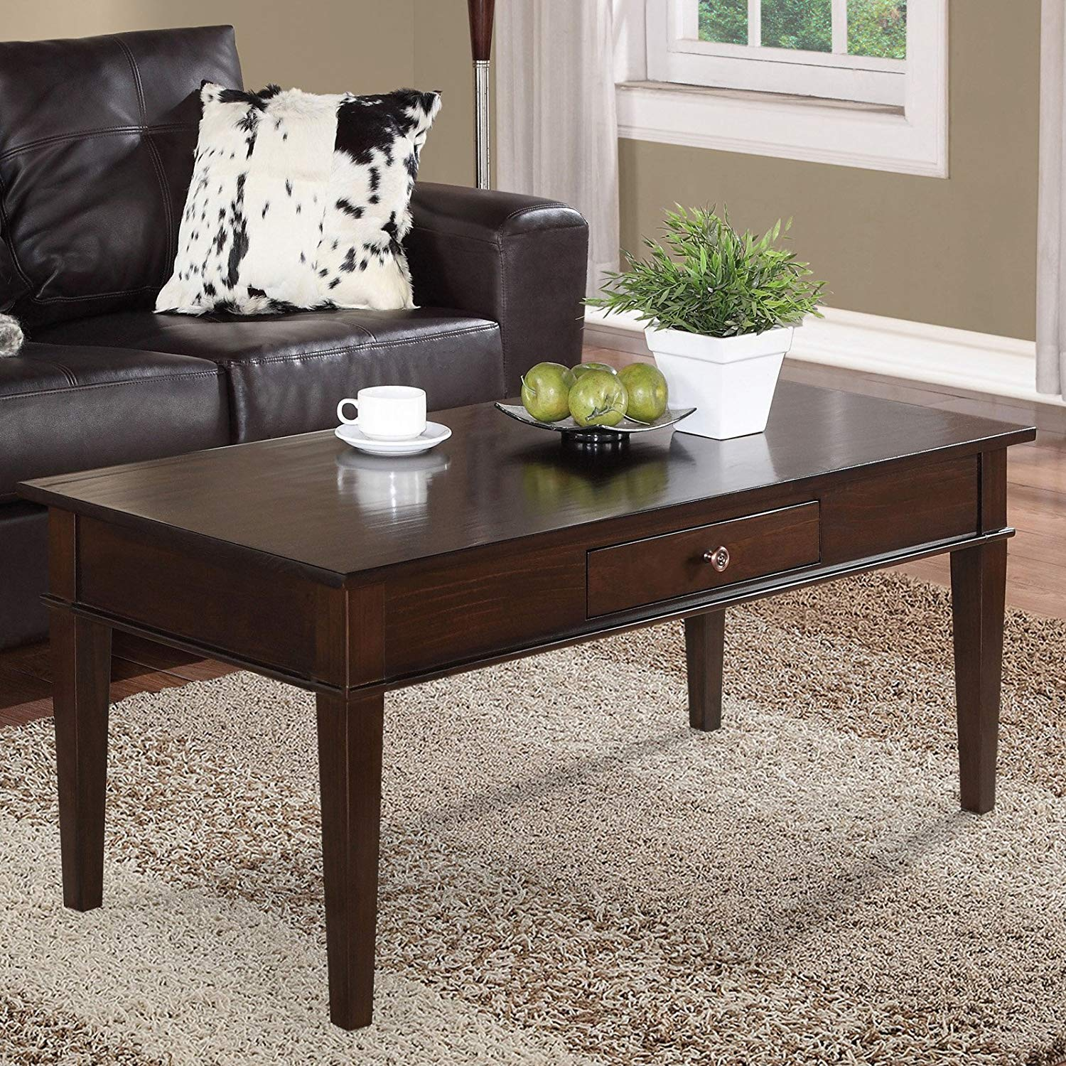 Coffee Table, Solid Wood Construction, Tobacco Brown, Contemporary Style, Tapered Legs, Bronze Round Knobs, Rectangle Shape, Bundle with Our Expert Guide with Tips for Home Arrangement
