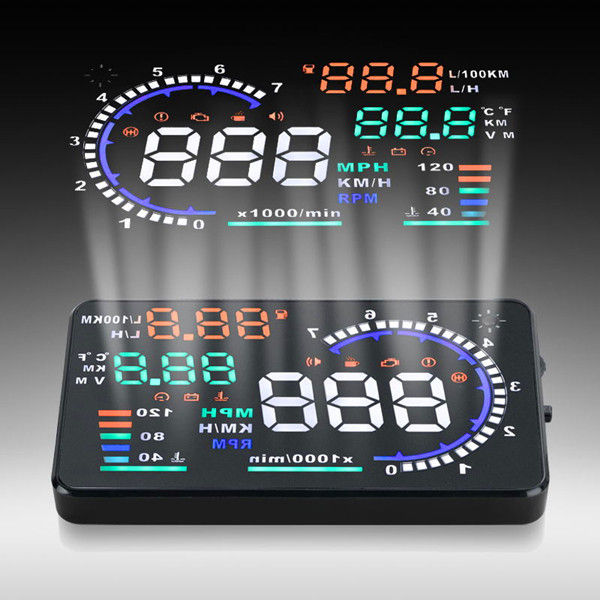 [Newest Arrival] 5.5 Inch car hud speed display A8 high quality Overspeed Warning hud projector with Alarm System