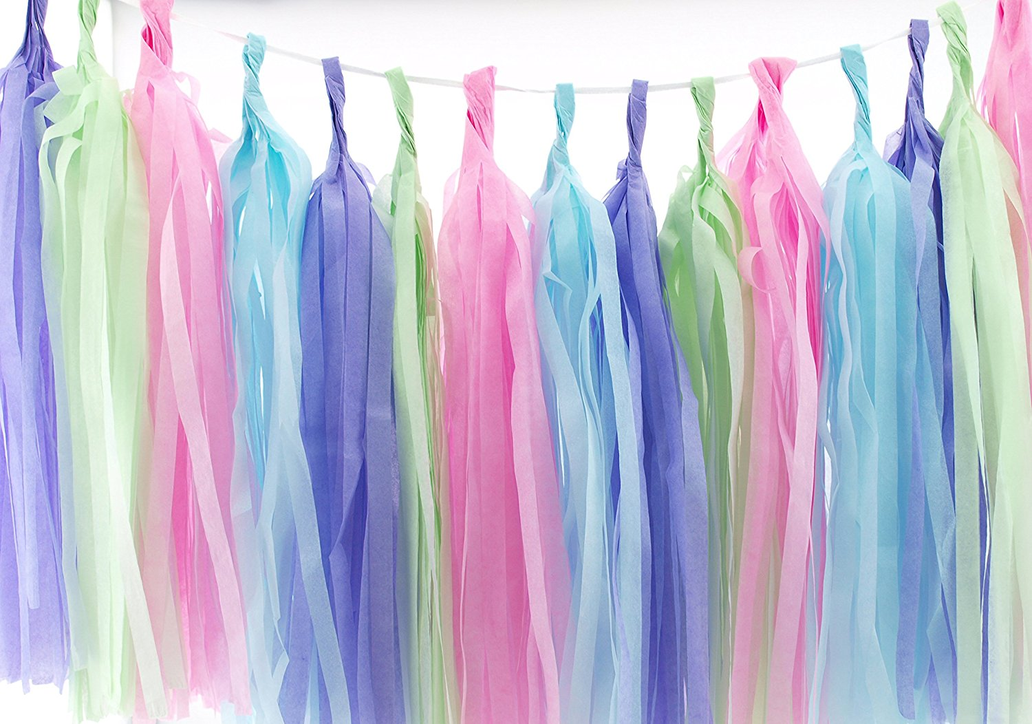 Easter Garland, Pastel Wedding Tassels (Set of 20) - Easter Party Supplies, Pink, Blue, Mint Green & Lavender Purple Easter Streamer Decorations, Pastel Wedding Backdrops Paper Tissue Garland