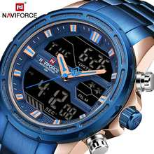 NAVIFORCE Роскошные мужские часы, полностью стальные военные наручные часы, цифровые спортивные часы, мужские водонепроницаемые кварцевые часы...(China)