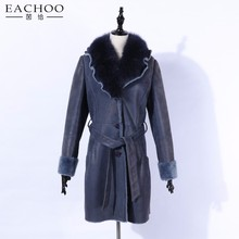 EACHOO Double face sheepskin coat womens shearling parka lady leather women sheep Lamb