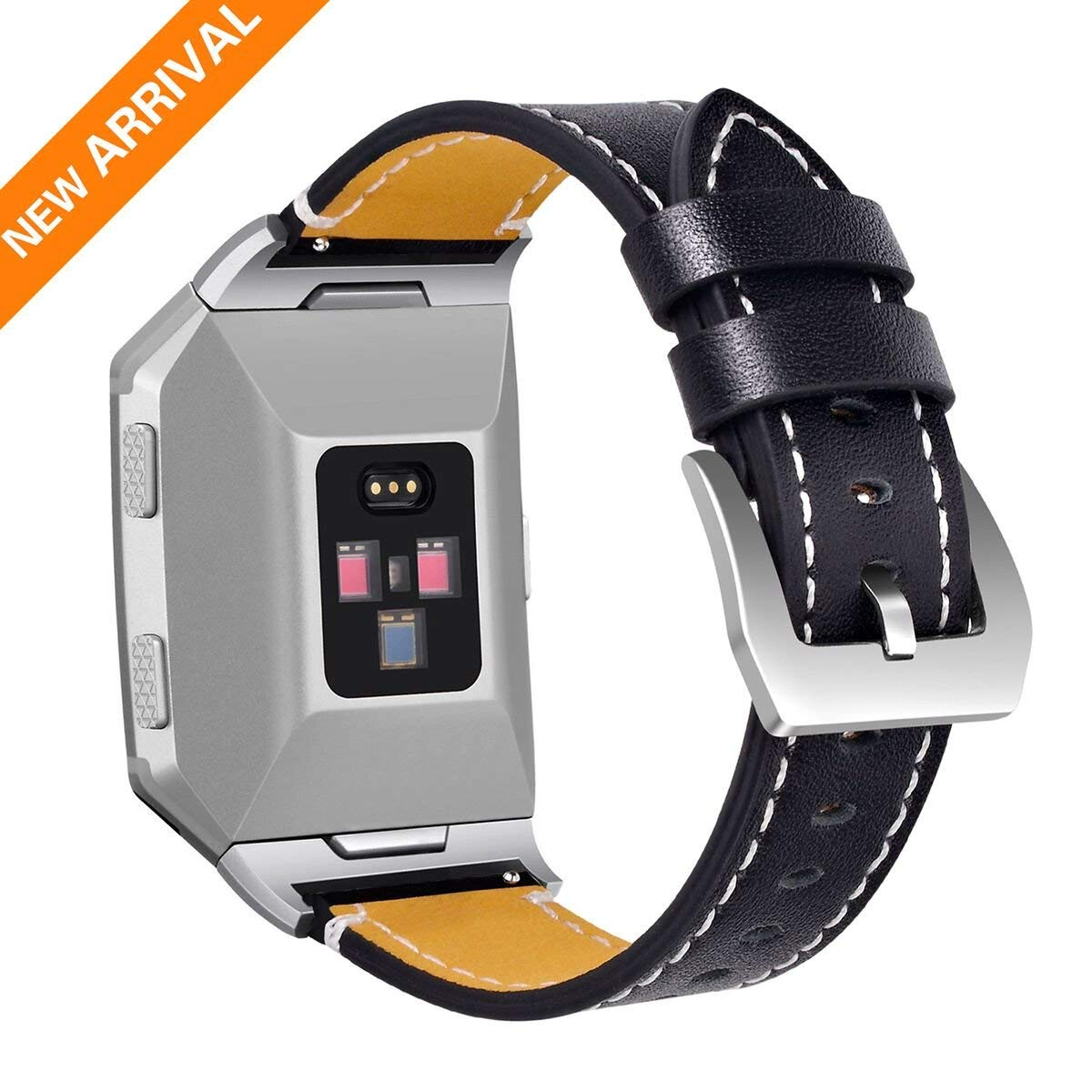 Fitbit Ionic Bands, Genuine Leather Ionic Fitbit Smart Watch Band, Replacement Straps for Fitbit Leather Band Wristband for Women Men Gifts (Brown, Black, Blue, Pink / Small & Large,One Size)