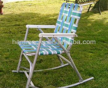 Vintage Aluminum Folding Webbed Rocker Chair Lawn.sun  Tan,beach,sunbeam,cookouts